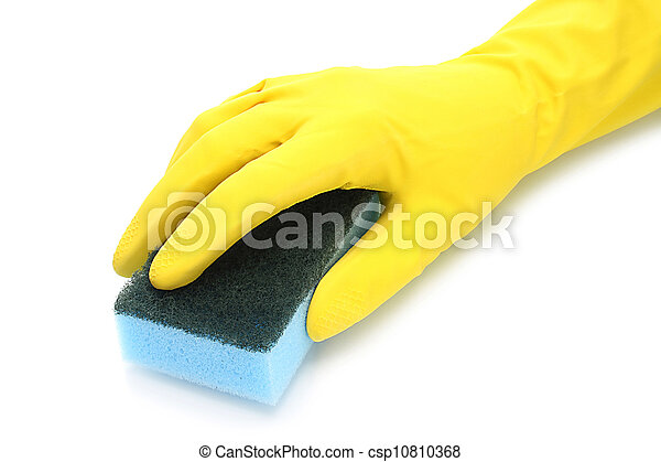 Hand with rubber glove and cleaning sponge on white background - csp10810368