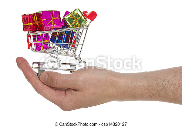Hand with shopping cart full of colorful gifts - csp14320127
