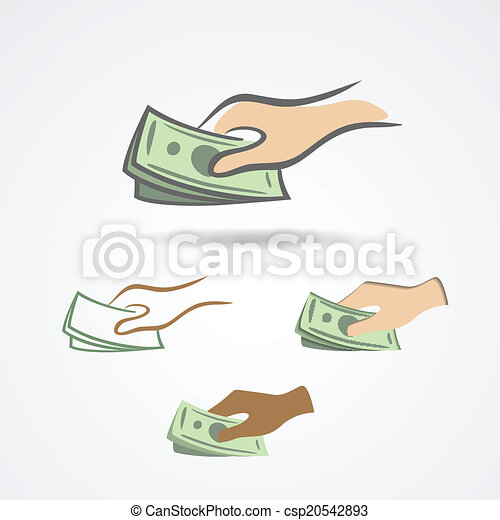 Hand with some money symbol collection - csp20542893