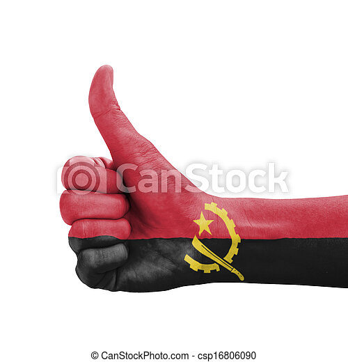Hand with thumb up, Angola flag painted as symbol of excellence - csp16806090