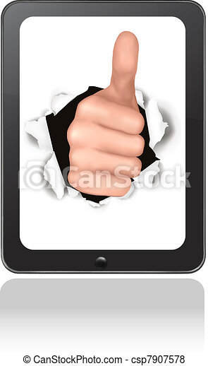 Hand with thumb up breaking - csp7907578