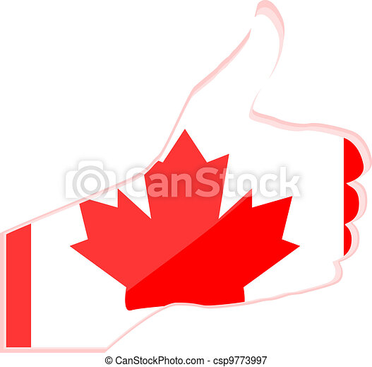 Hand with thumb up gesture in colored canada national flag - csp9773997