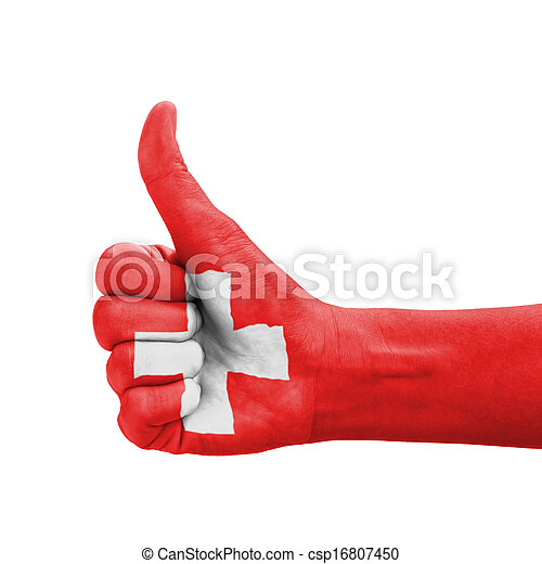 Hand with thumb up, Switzerland flag painted - csp16807450