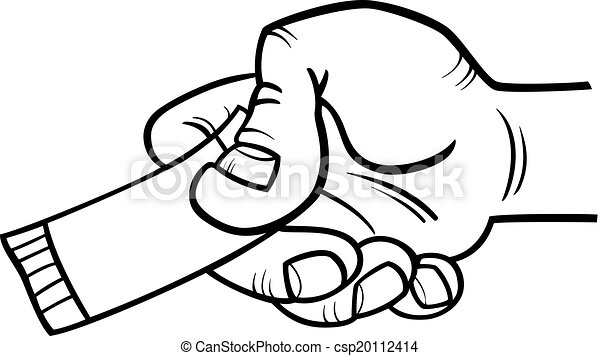 Black And White Cartoon Illustration Of Hand With Ticket Or Coupon For Coloring Book