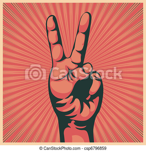 hand with victory sign - csp6796859