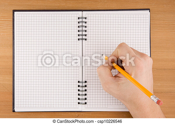 hand writing by pencil on notebook - csp10226546