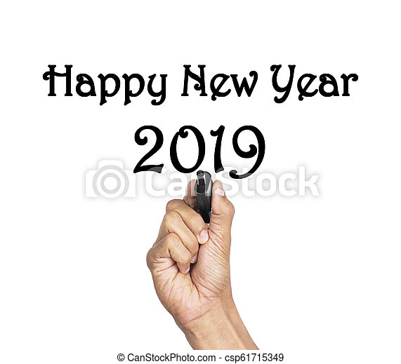 Hand writing Happy New Year lettering - csp61715349