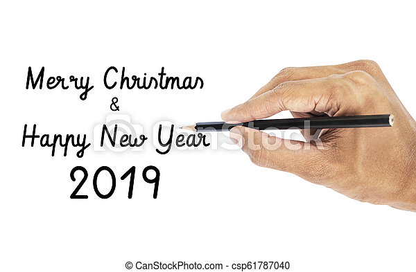 Hand writing Happy New Year lettering - csp61787040