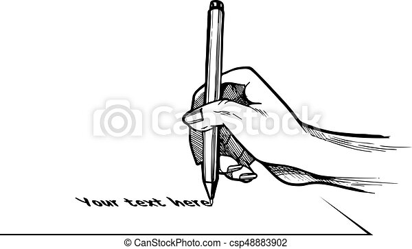 Hand writing or signing something on a sheet of paper - csp48883902