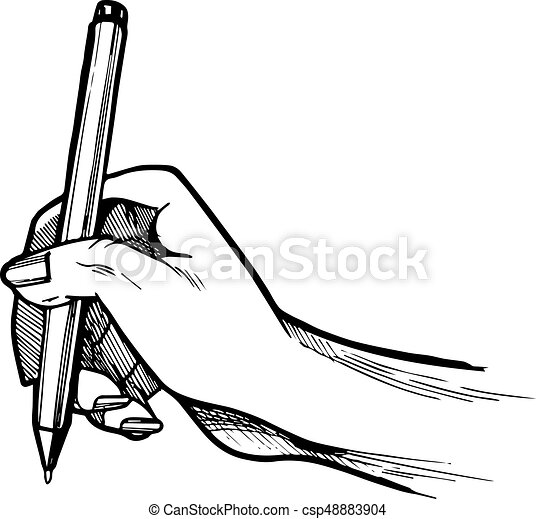 Hand writing or signing something on a sheet of paper - csp48883904