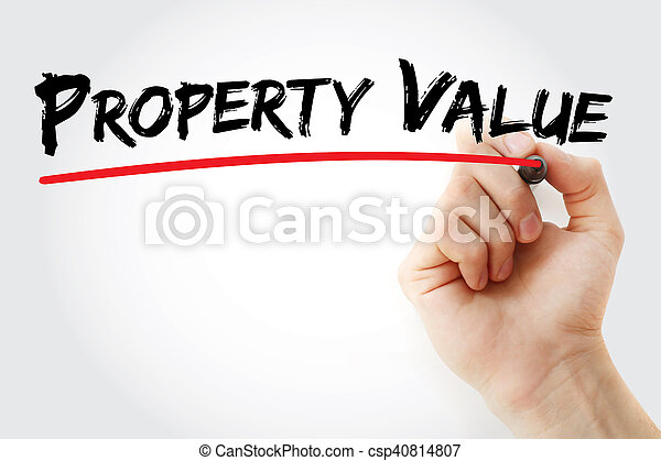 Hand writing Property Value with marker - csp40814807