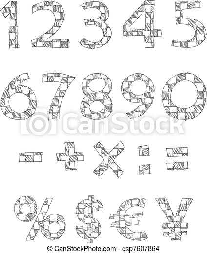 Hand written checkered numbers - csp7607864