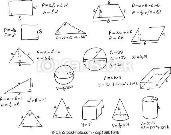 Hand Written Geometry Formulas - csp16981646