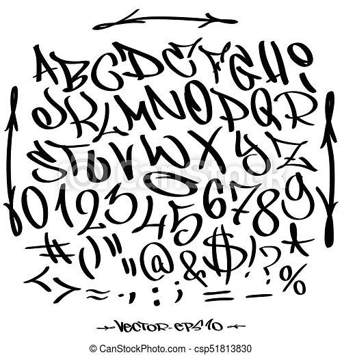 Hand Written Graffiti Font Alphabet Vector Set On White