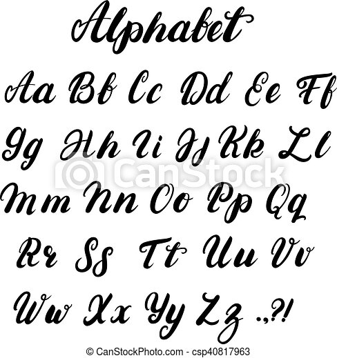 Hand Written Lowercase And Uppercase Calligraphy Alphabet Modern Brushed Lettering Black Letters Isolated On White Background Vector Illustration