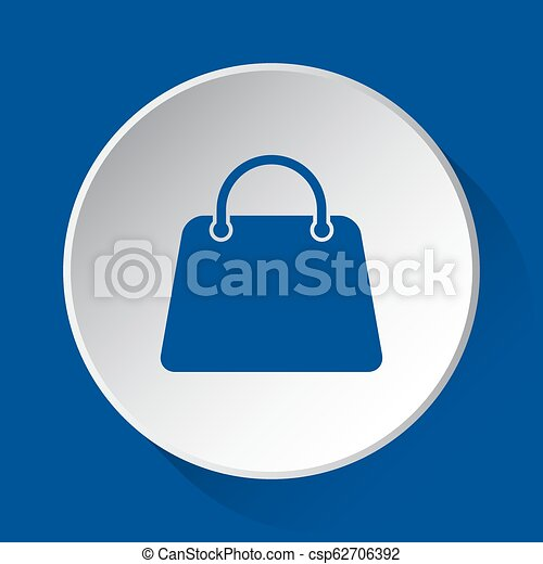 handbag, bag - simple blue icon on white button - csp62706392