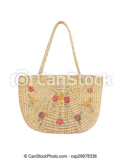 Handbag made from dry Water hyacinth - csp29978336