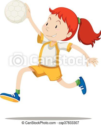 handball, athlète, femme, jouer - csp37833307
