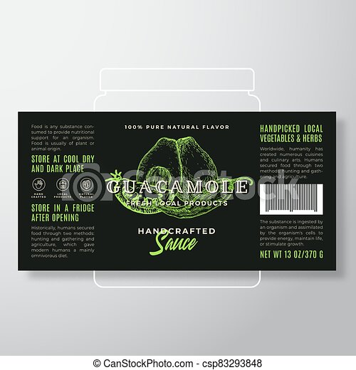 Handcrafted Vegetables Guacamole Sauce Label Template. Abstract Vector Packaging Design Layout. Modern Typography Banner with Hand Drawn Tomato, Chilly and Avocado Silhouettes Background. - csp83293848