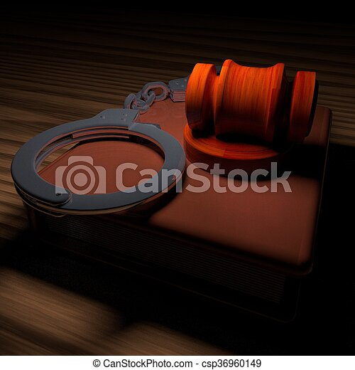 Handcuffs, gavel and book  - csp36960149