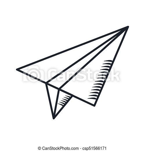 Handdraw Icon Paper Plane Paper Airplane In The Sky Cartoon Flat