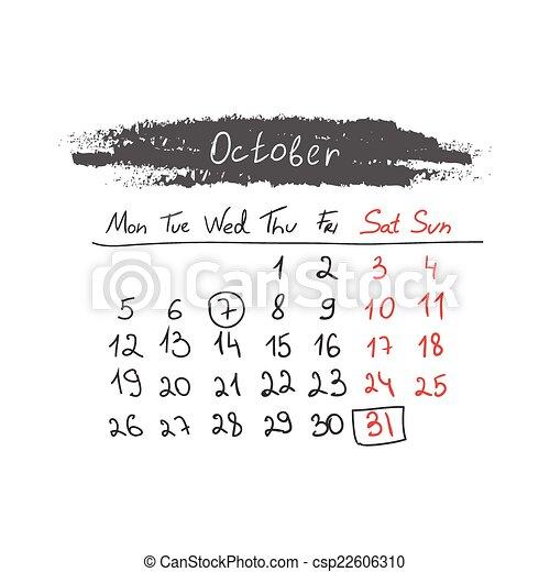 handdrawn, カレンダー, 10 月, vector., 2015. - csp22606310