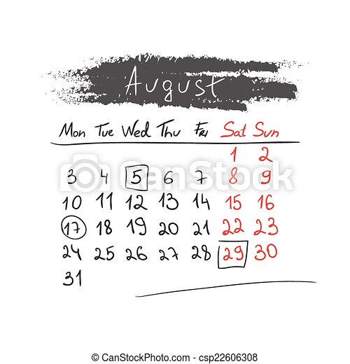 Handdrawn calendar August 2015. Vector. - csp22606308