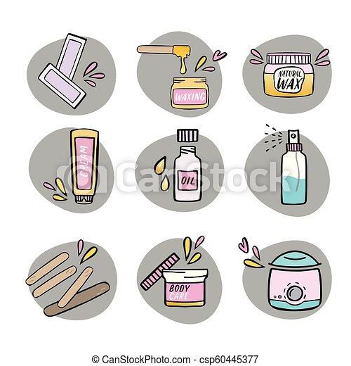 Handdrawn Hair Removal Icons Set Waxing Kit Handdrawn Hair
