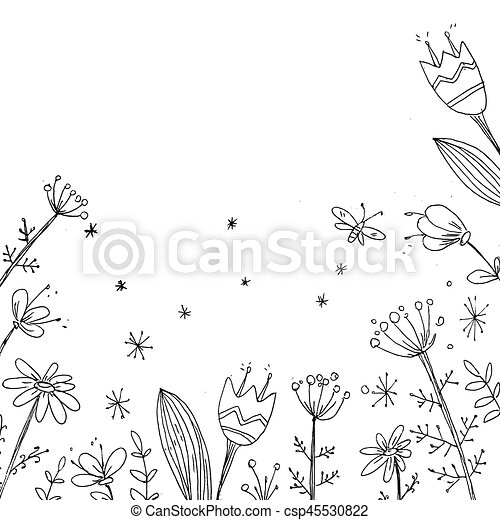 Handdrawn Vector Floral Background Simple Doodle Flowers Black And