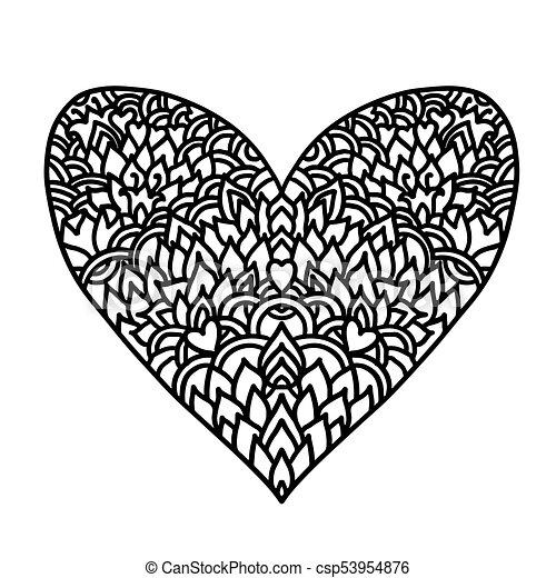Handdrawn zentangle heart. mandala style design for st. valentine ...
