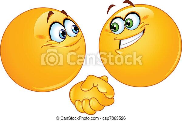 handdruk, emoticons - csp7863526
