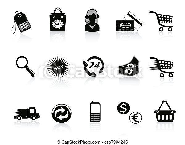 handel, detailhandel, set, iconen - csp7394245