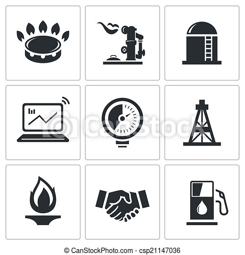 handel, vektor, gas, samling, ikon - csp21147036