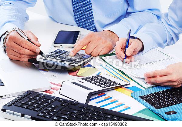 handen, calculator., zakenlui - csp15490362