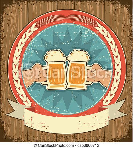 handen, etiket, papier, oud, achtergrond, set, texture., man, bier, ouderwetse  - csp8806712
