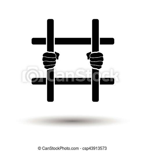 handen, staaf, gevangenis, vasthouden, pictogram - csp43913573