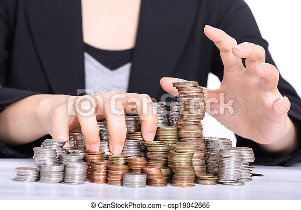 handen, stelen, vrouwen, kantoor, gebruikt, corruptie - csp19042665