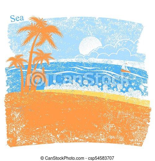 handfläche, tropische , blauer hintergrund, meer, insel, natur - csp54583707