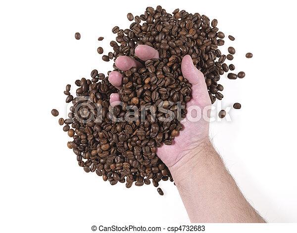 handful of coffee beans - csp4732683