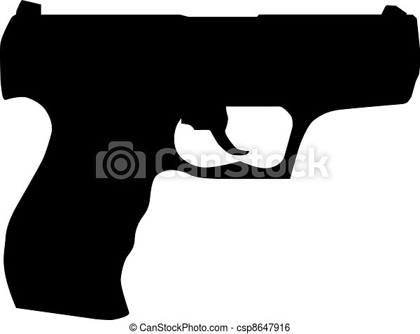Handgun pistol silhouette isolated on white - csp8647916