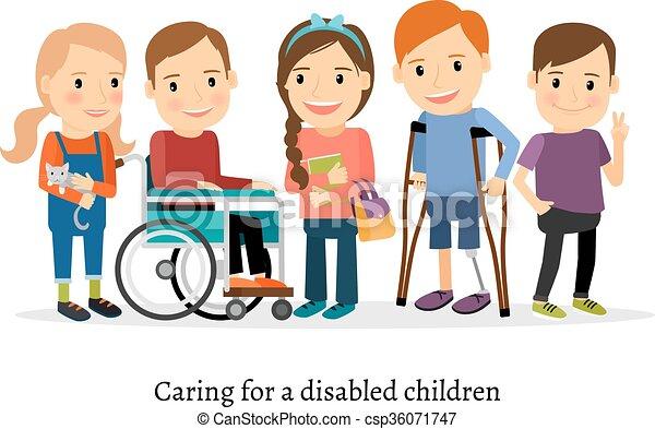 handicapé, ou, handicapé, amis, enfants - csp36071747