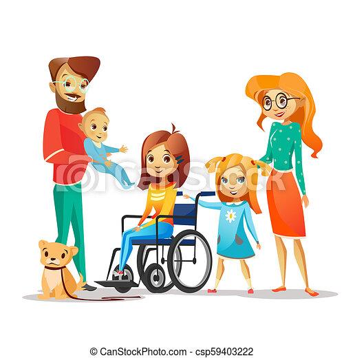 handicappato, famiglia, carrozzella, circondato, illustrazione, invalido, genitori, bambino, ragazza, felice - csp59403222