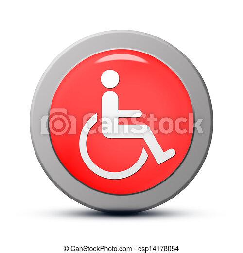 Handicapped Icon Icon Series Red Round Handicap Symbol Of