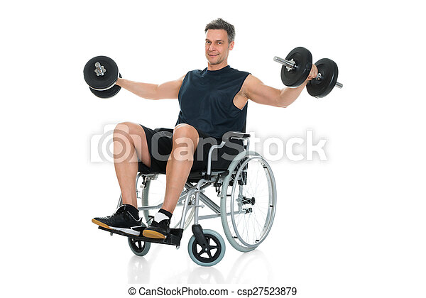 Handicapped Man On Wheelchair Working Out With Dumbbell - csp27523879