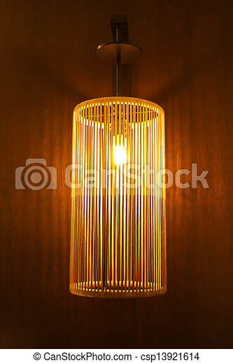 Handicraft electric lamp on wall - csp13921614