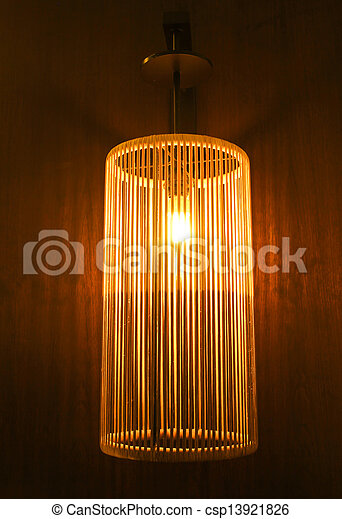 Handicraft electric lamp on wall - csp13921826