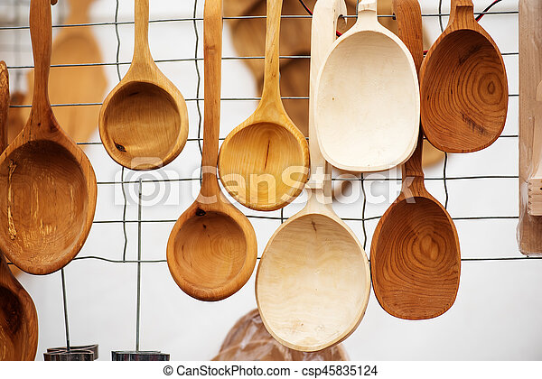 Handicraft mart Kaziukas in Vilnius, Lithuania: wooden homemade spoons - csp45835124
