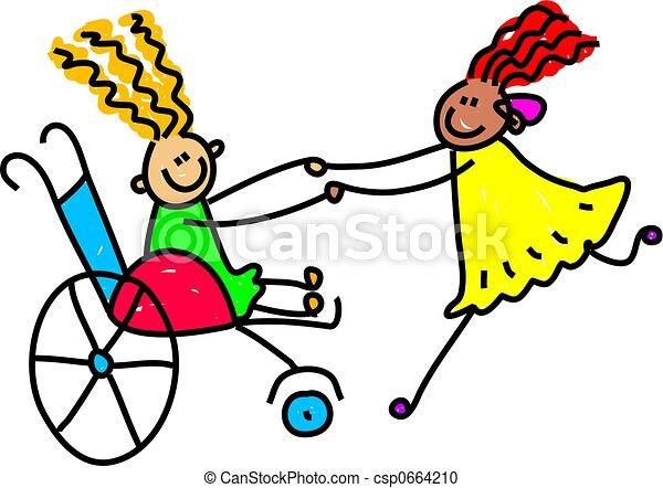 handikappad, vänner - csp0664210