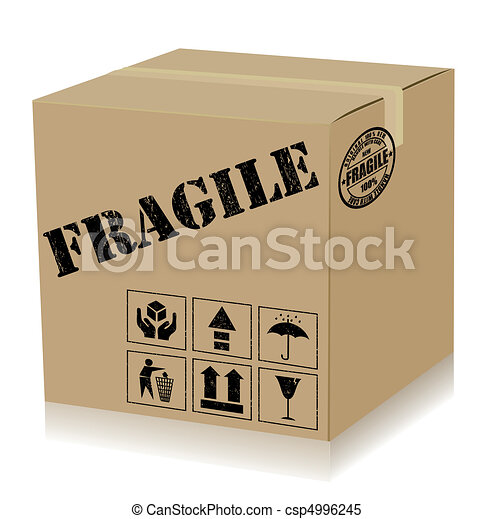 Handle With Care Box. Vector - csp4996245
