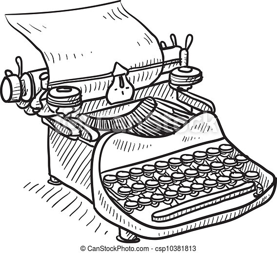 handleiding, ouderwetse , schets, typemachine - csp10381813